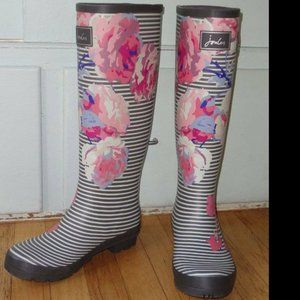 Joules Welly Tall Rubber Rain Boots Stripe Flowers